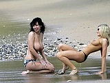 Lovely Hot British Girls Topless Fun At Beach Hot Spy Photo