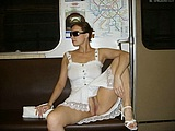 Nude in Public Photo Sexy Wife Flashes Pussy in Subway
