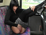Public Nudity Photo Sexy Girl Flashes Pussy in Public Bus