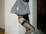 Sexy Russian Girl Flashes Stockings in Public Nudity Photo