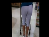Milf in Tight White Leggings Spied on Candid Camera in Store
