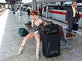 Sexy Nude Girl Flashing Pussy at Public Train Station