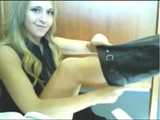 Hot Blonde Girl Doing Naked Flashing Video in Public Library