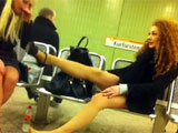 Candid Camera Films Upskirt of Sexy Legs on Hottie Girl