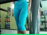 Woman Perfect Camel Toe in Tight Pants at the Public Gym