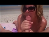 Nudist Mom at the Beach Blows Husband Until he Cums on Her Face