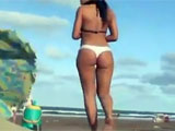 Voyeur Beach Sexy Woman with Tight Bikini Filmed