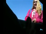 Dude Flashes Dick in Car to a Woman and She Gives Him Handjob
