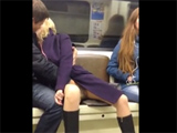 Public Metro Masturbation Guy Fingers Pussy of Girl