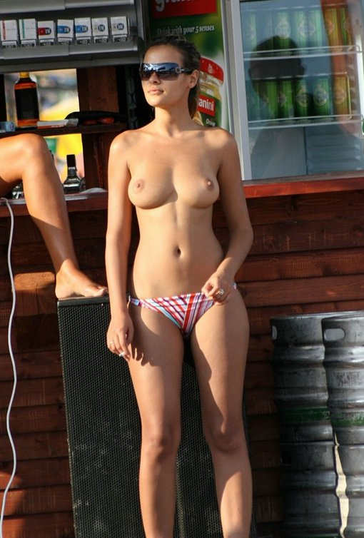 Hot Topless Amateur Girl Posing By The Beach Bar Sexy Photo