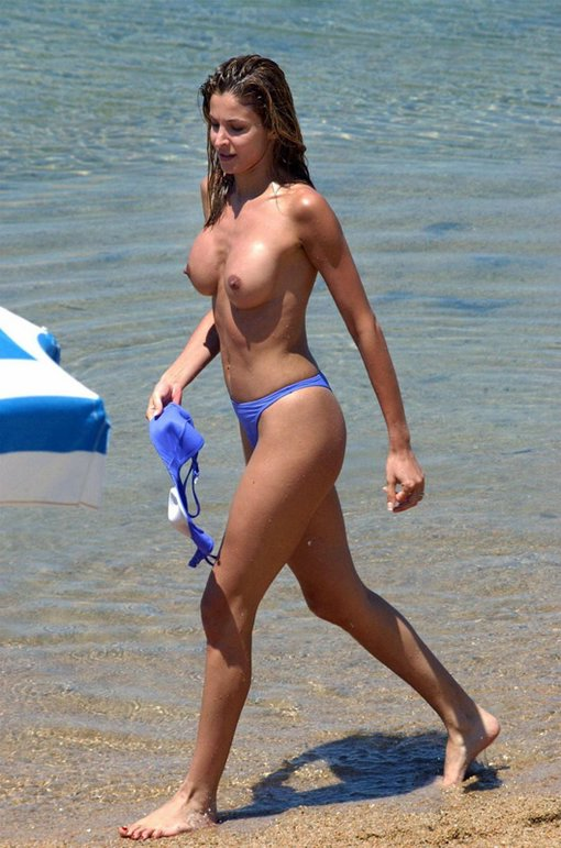 Busty Hot Wife On The Beach