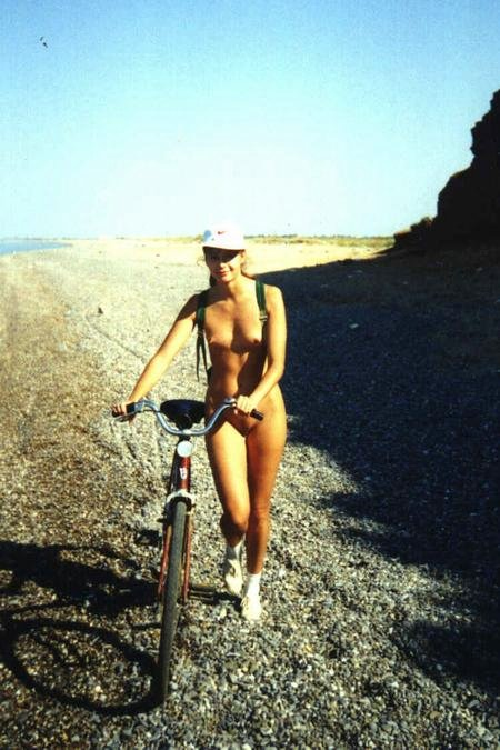 Cute Girlfriend Nude Hiking with Bike at the Beach Photo
