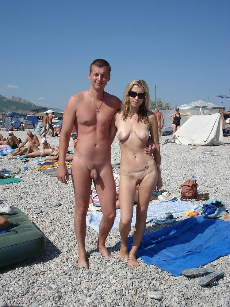 Couple nudist beach