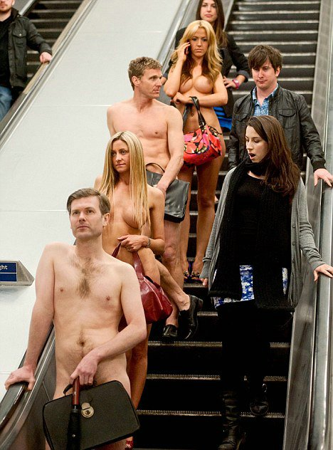 Public Nudity Photo Several People Naked at the Subway
