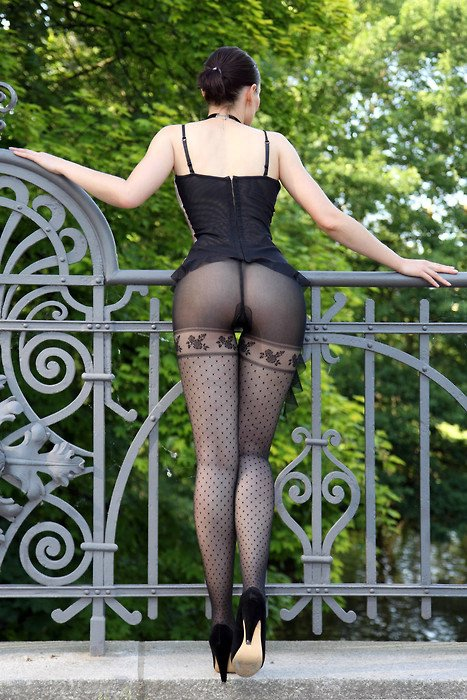 Exhibitionist Photo Hot Woman Posing in Pantyhose in Public