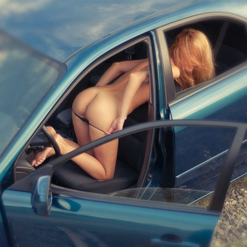 Flashing Pussy and Ass Photos of Naked Woman in the Car