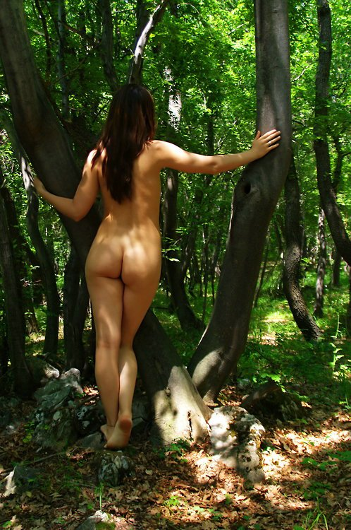 Wife with Sexy Ass Flashing Nude in Public Park Photo