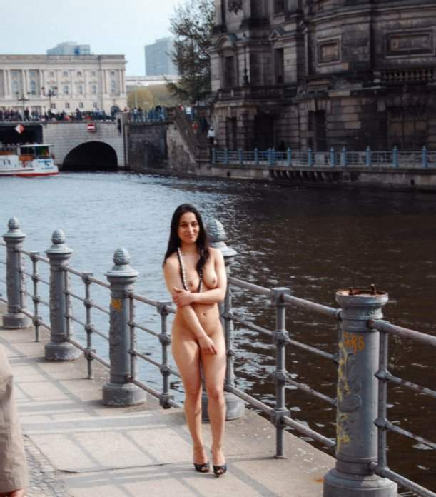 Girl Flashing Tits and Pussy in Public Nude Photo