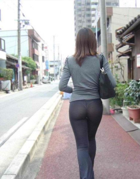 Yoga pants seethrough thong in public street photo - yoga pants ...