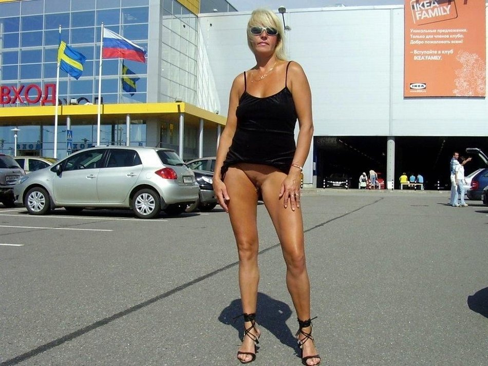 Flashing Nude Of Mature Blonde Wife In Public Place