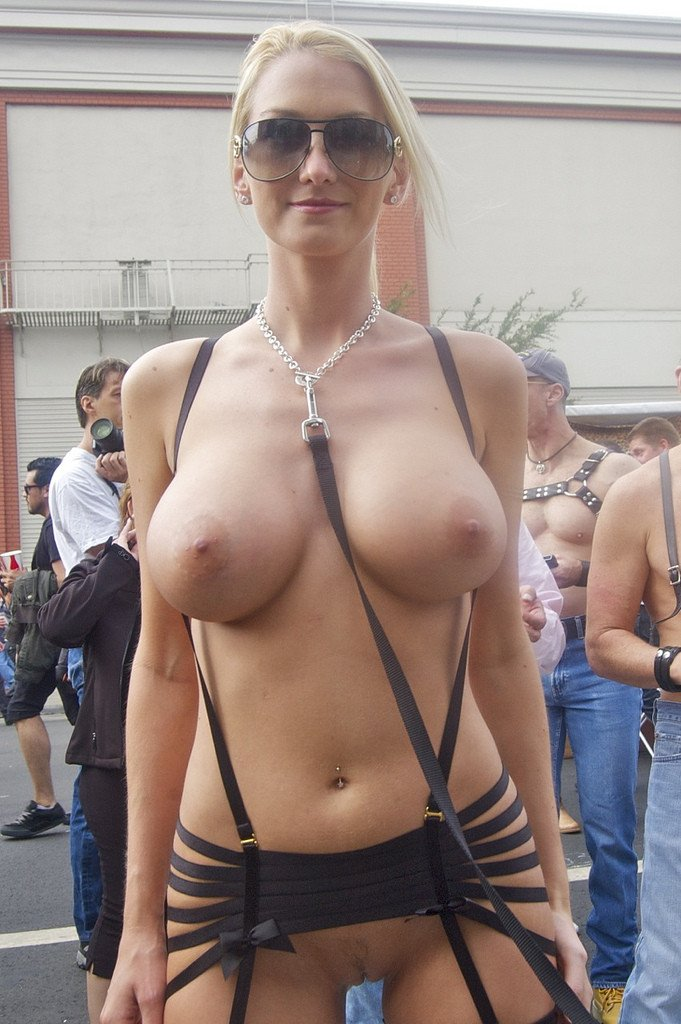 Gorgeous Blonde Woman Flashing Nude in Public Crowd