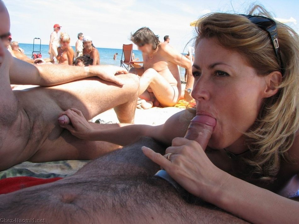 Wife at Nudists Beach Gives Oral Sex and Handjob to Two Men