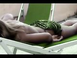 Video Clip Teasing Sexy Woman Poses Semi Nude Outside