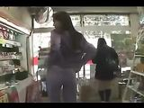 Japanese Girl Flashing Tits and Pussy in Public Shop