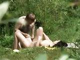 Couple Filmed on Secret Voyeur Camera Fucking in Public Park