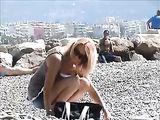 French Riviera Beach French Girl Filmed Topless on Voyeur Cam