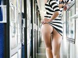 Knippert Pussy op de trein Hot Voyeur Naakt Foto's
