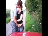 Amateur Couple Fucking on Side of a Public Road