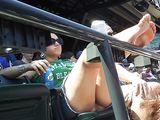 Voyeur Candid Nude Photo at Baseball Game of Woman