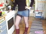 Wife Underskirt Sexy Legs in Black Stockings