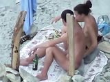 Naked Wife at the Beach Performs a Blowjob