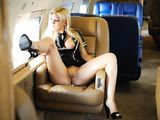 Young Sexy Blonde Flashing Tits and Pussy in Airplane - Voyeur Pictures