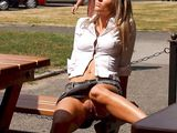 Hot Blonde Flashes Her Nude Pussy on the Bench - Voyeur Pictures