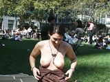 Amateur Girlfriend Flashes Tits in Public Park - Voyeur Pictures
