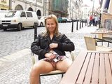 Cute Czech Girl Flashes Nude Shaved Pussy at Terrace - Voyeur Pictures