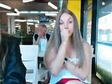 Two Beautiful Girls Flashing Topless in a Public Place