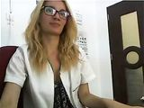 Horny Female Doctor Masturbates at Work on Webcam