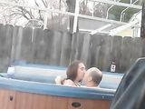 Amateur Couple Makes Sex in Jacuzzi in Open Space