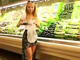 Daring Blonde Girl Masturbates with Cucumber in Public Shop