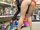 Flashing pussy no panties in public store picture
