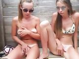 Super horny girls masturbating at the beach